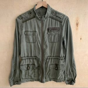 Express Olive Green Military Utility Jacket